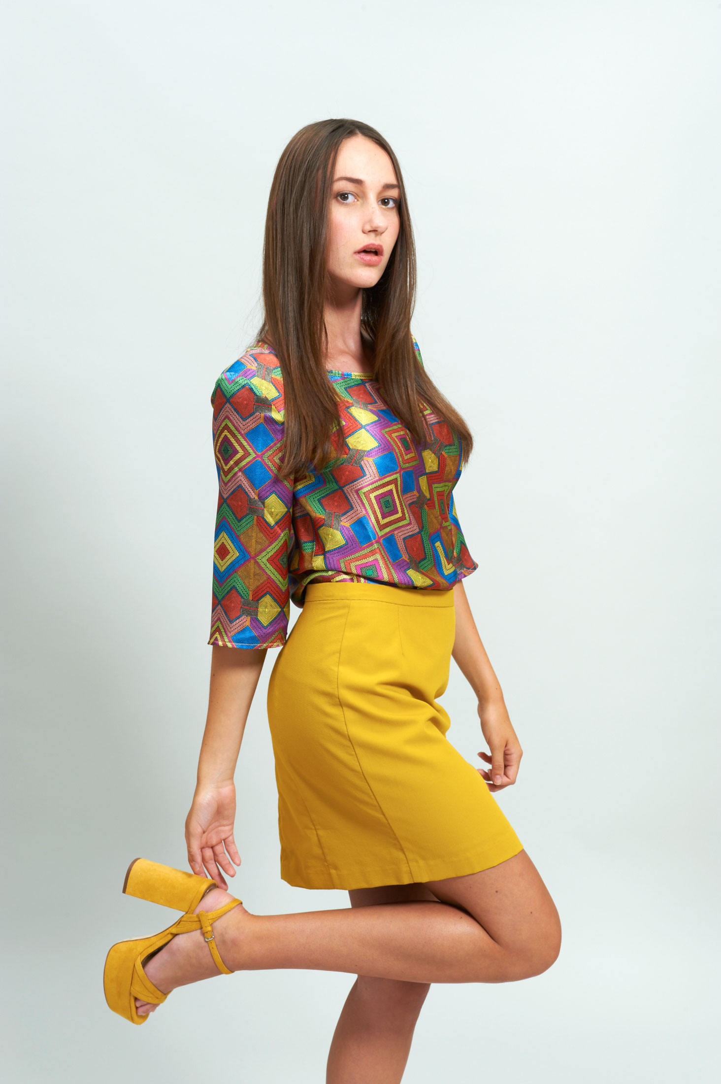 LOOK 6 Mustard Skirt Silk Blouse Timeless Atelier Boutique Alsamendi