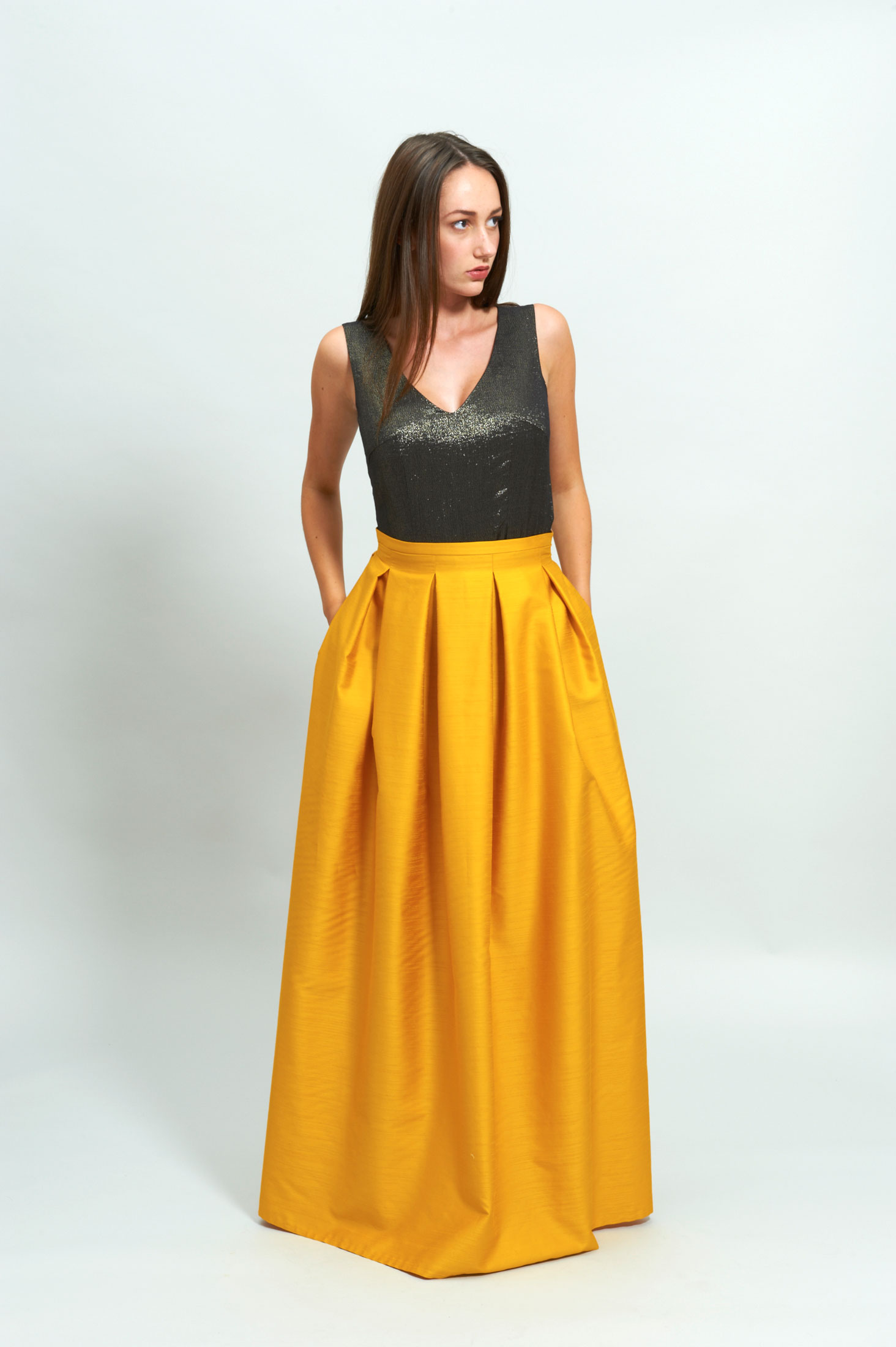 LOOK 4 Silk Plisse Maxi Skirt – Gold Crop Top