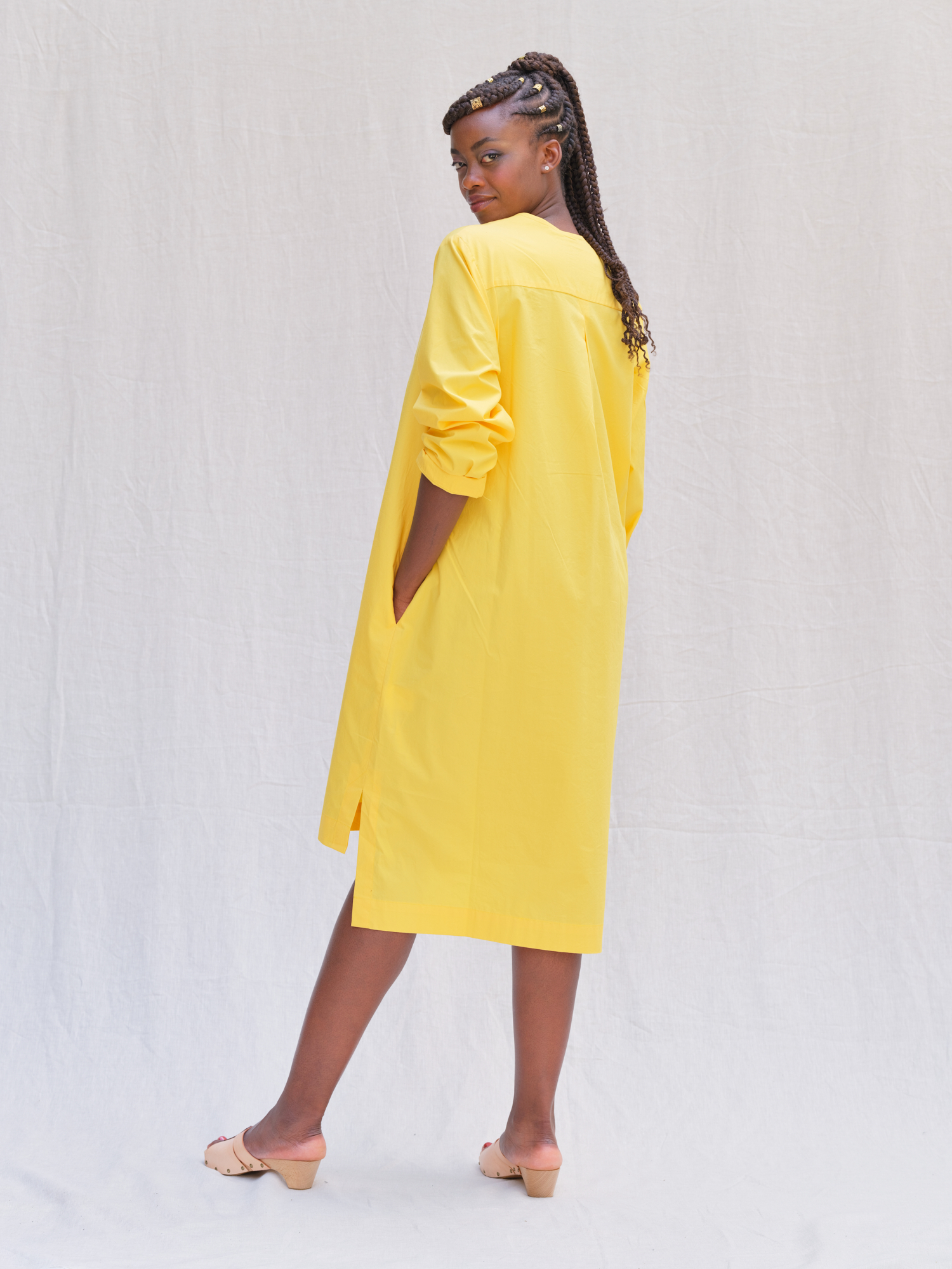 LOOK 1.2 Long Green Dress V-neck
